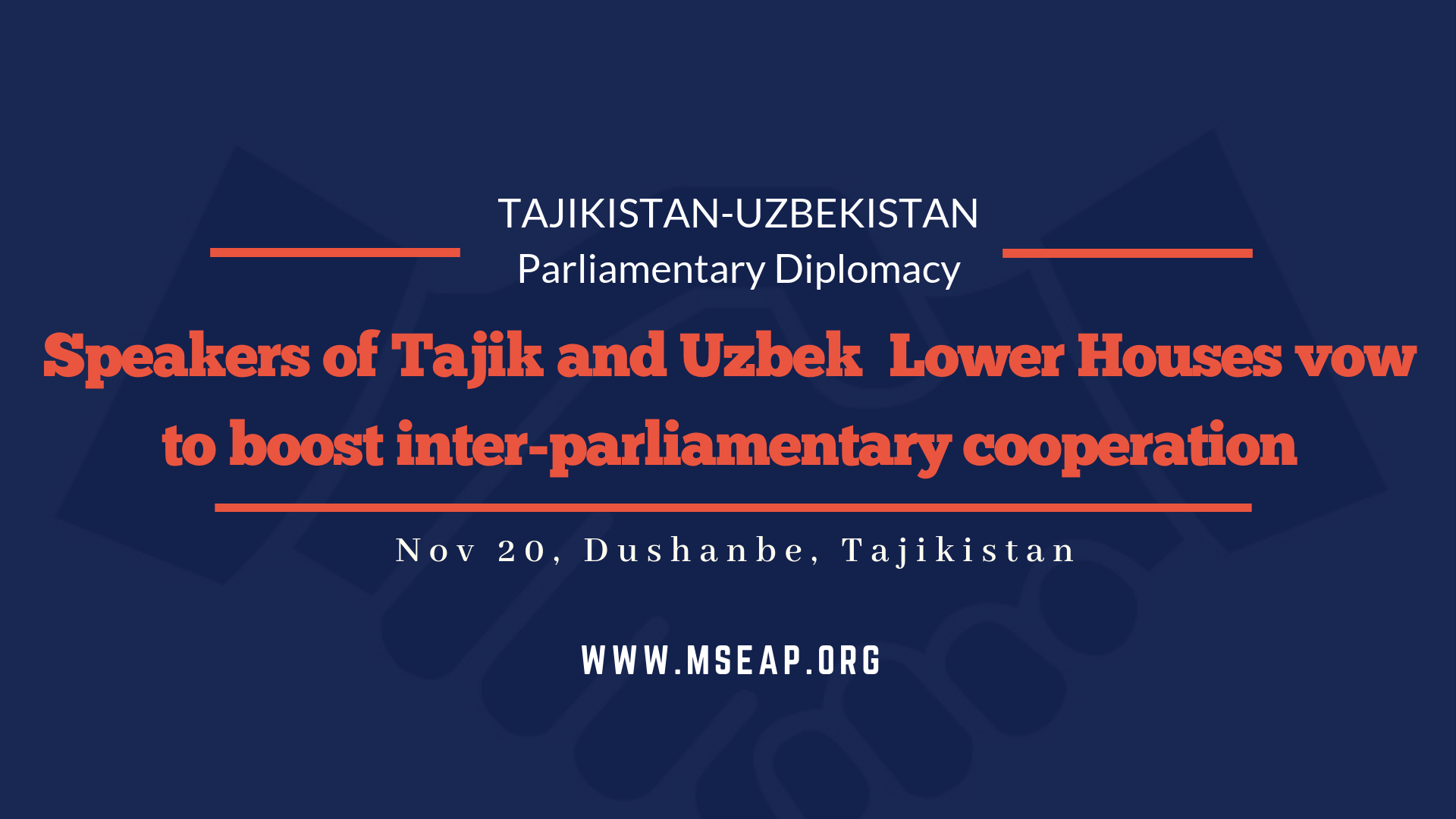 Tajik and Uzbek Speakers of Lower House vow to boost bilateral inter-parliamentary cooperation