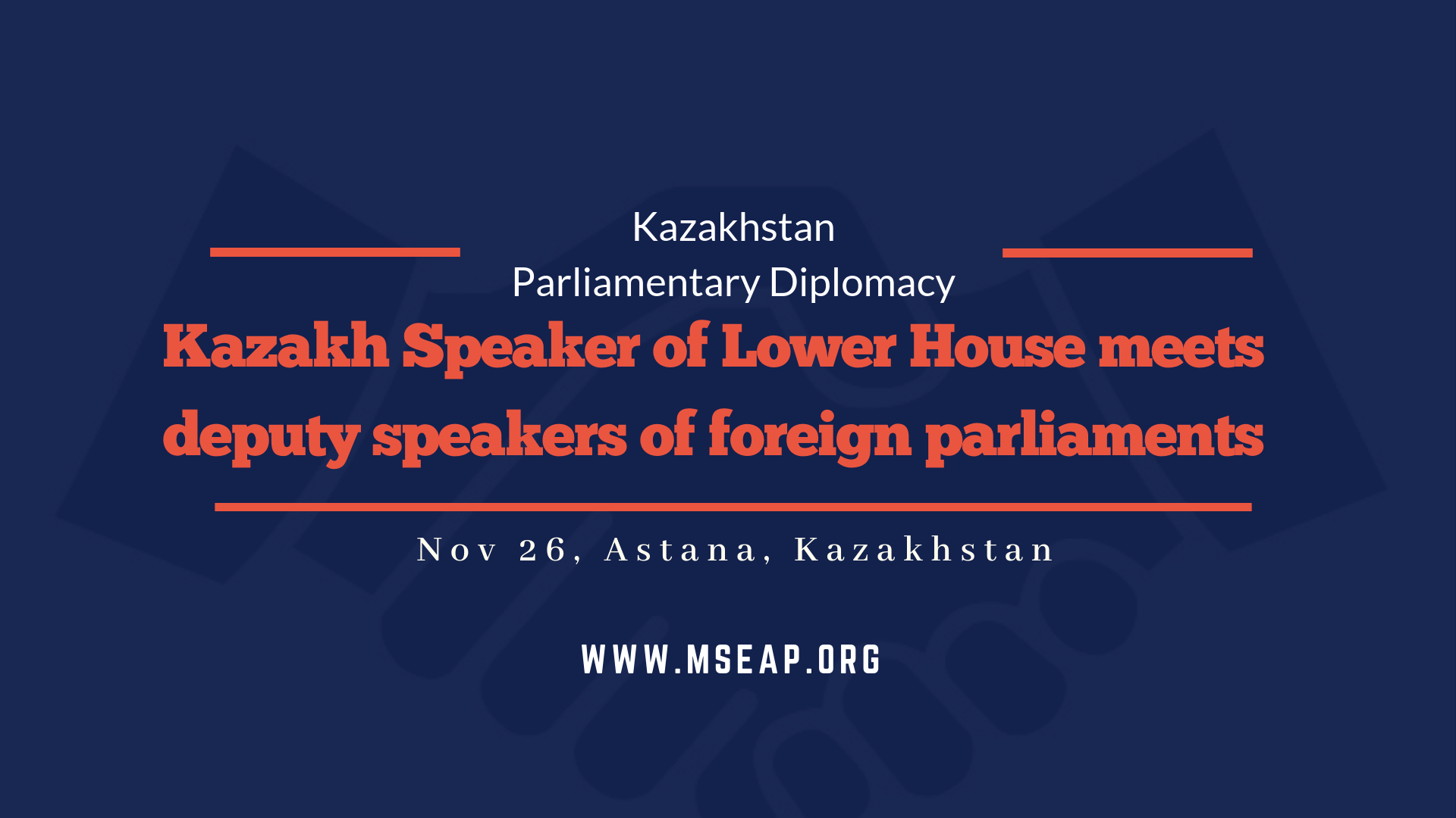 Chairman of lower house of the Kazakhstan Parliament holds bilateral meeting with deputy speakers at Astana International Parliamentary Conference