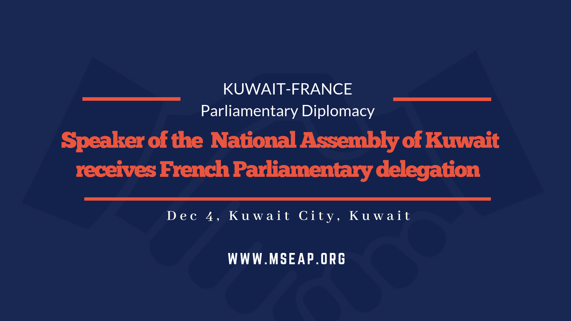Kuwaiti National Assembly Speaker receives French parliamentary delegation in Kuwait City