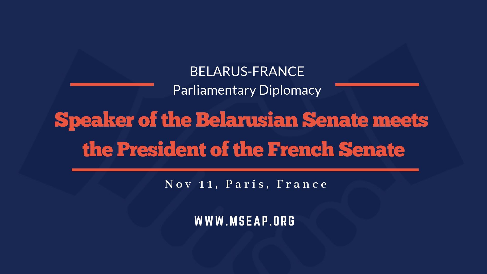 Speaker of the upper house of Berlarusian parliament meets the President of the French Senate in Paris
